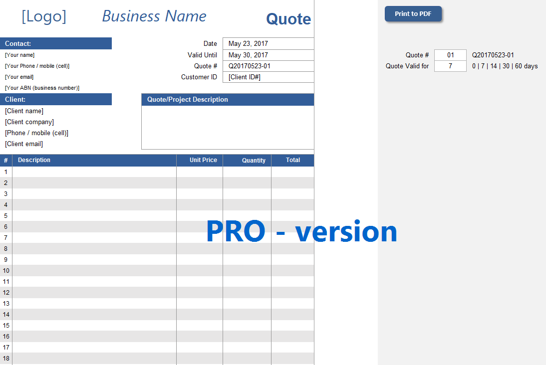 Quote spreadsheet template excelsupersite quote spreadsheet template friedricerecipe Images