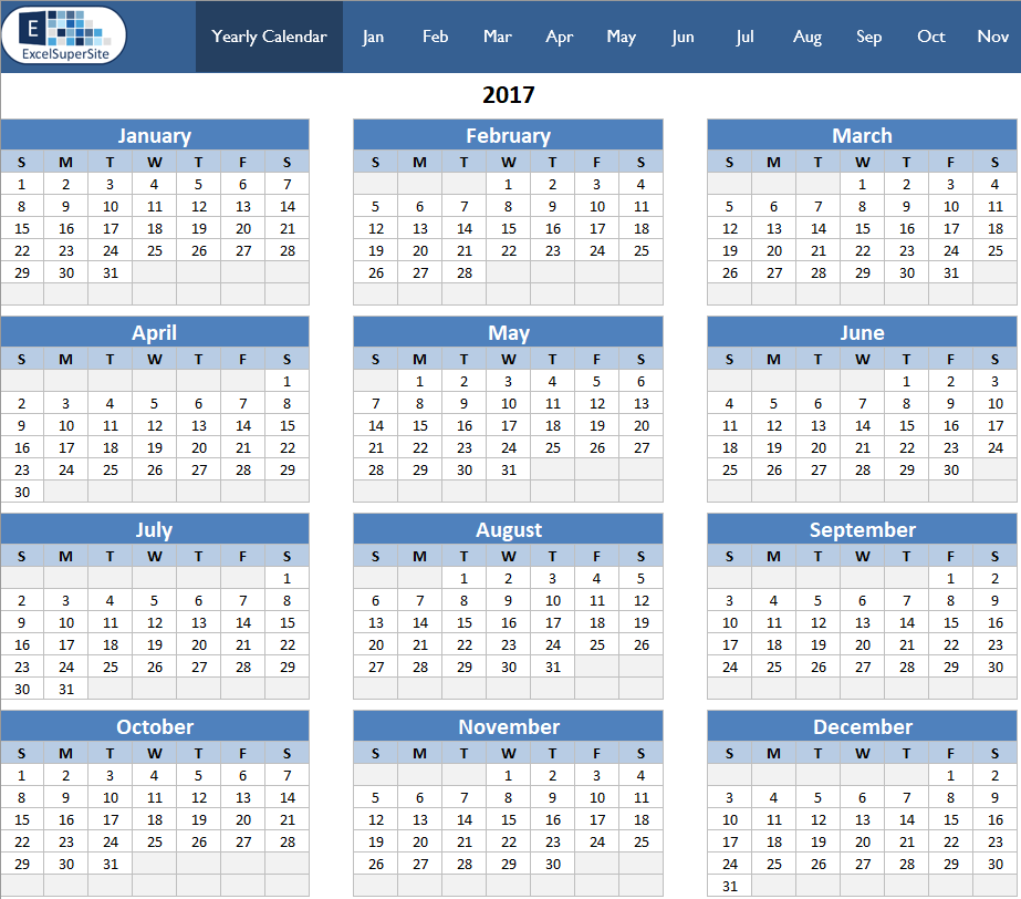 Calendar Monthly Overview : Calendar yearly month excelsupersite