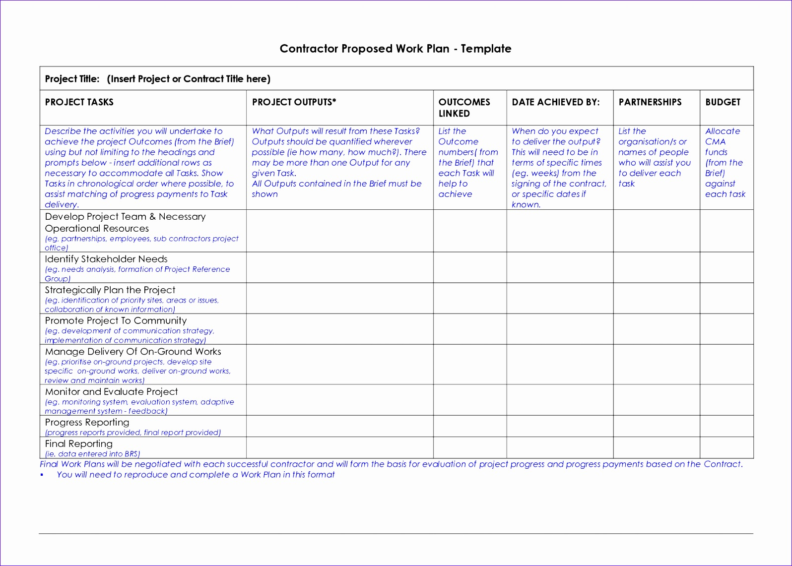 8 100 Day Plan Template Excel
