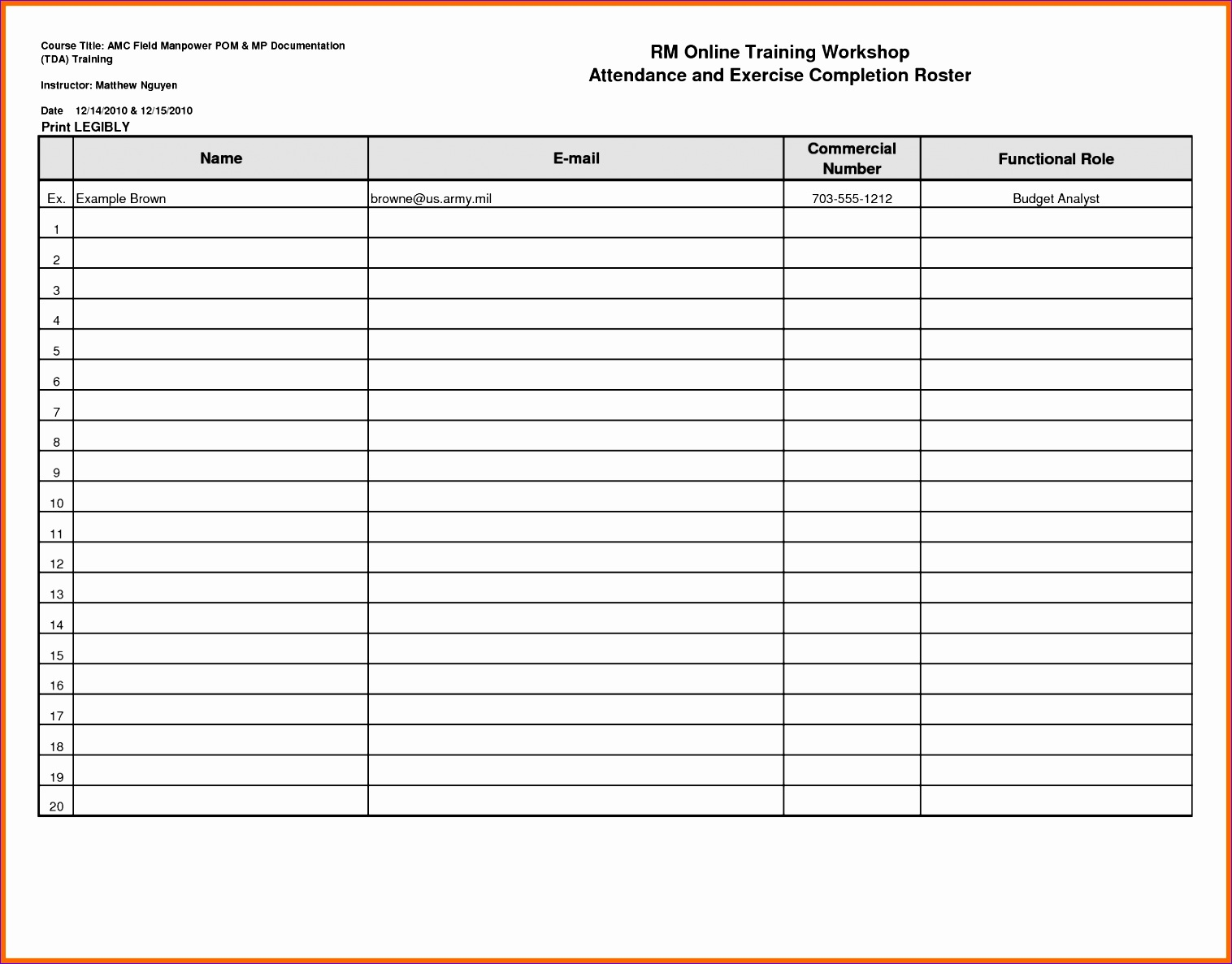 Sample Excel Templates Attendance Roster Template Excel