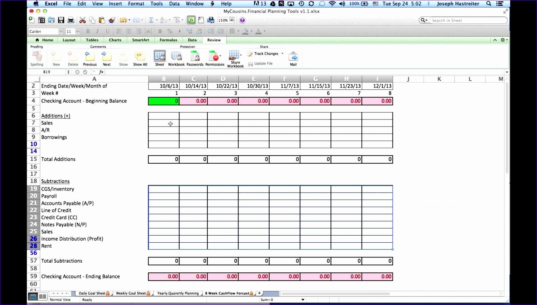 7 Cash Flow Projection Template Excel
