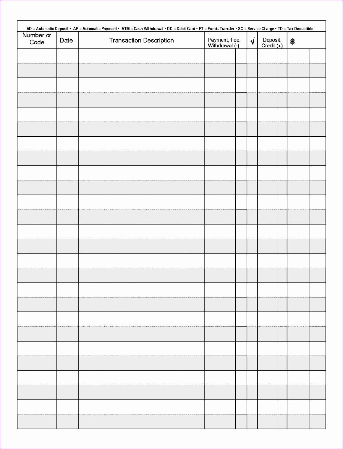 10 Checkbook Register