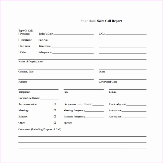 sales call report template free download champlain
