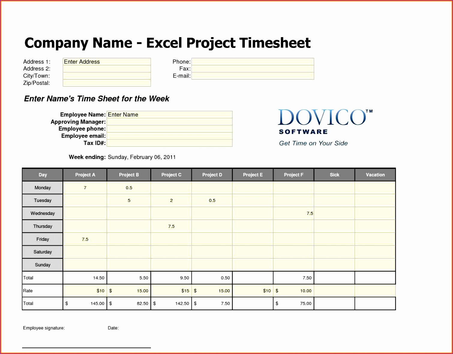 12 Employee Timesheet Template Excel Spreadsheet