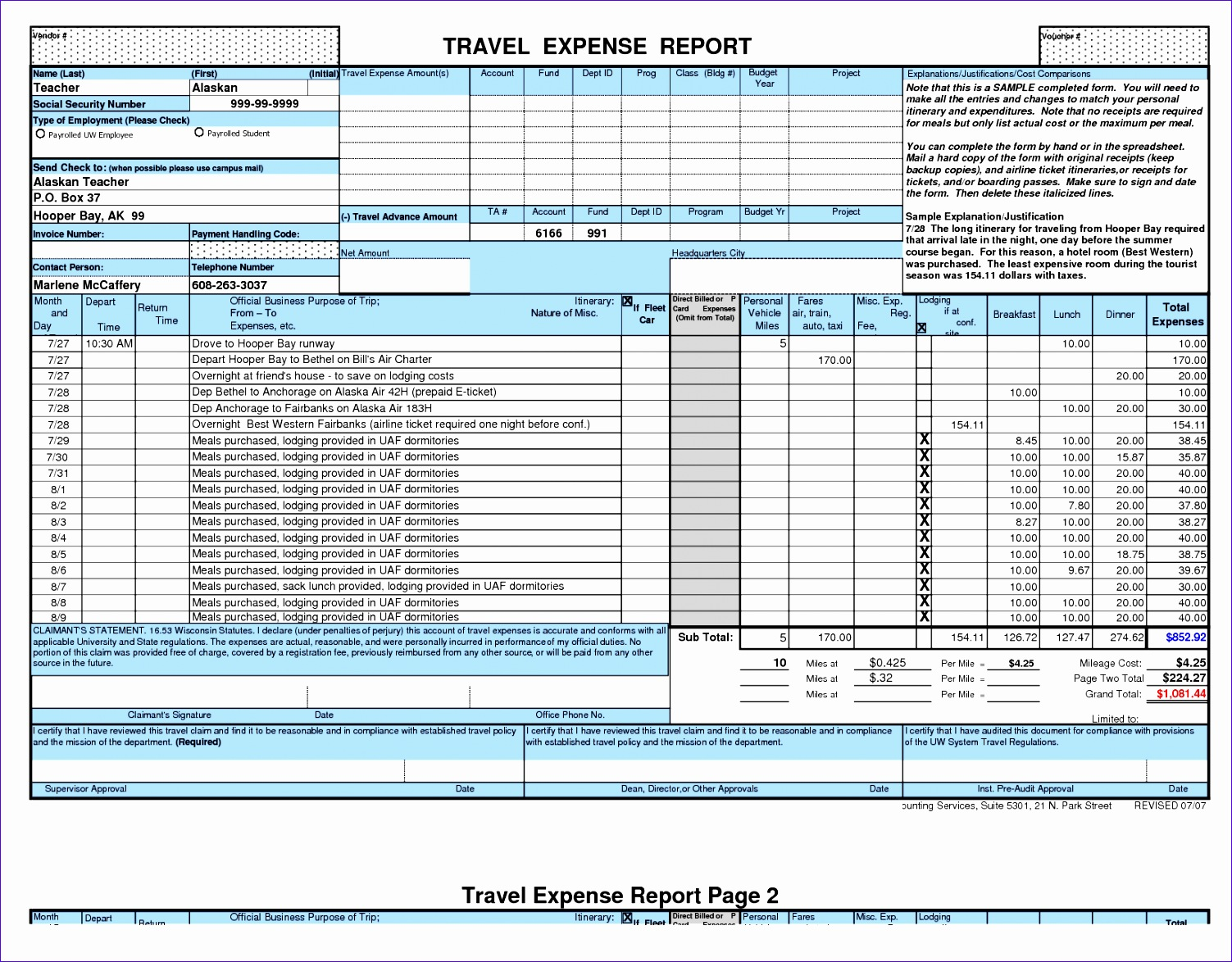 10 Excel Expense Report Template Free Download