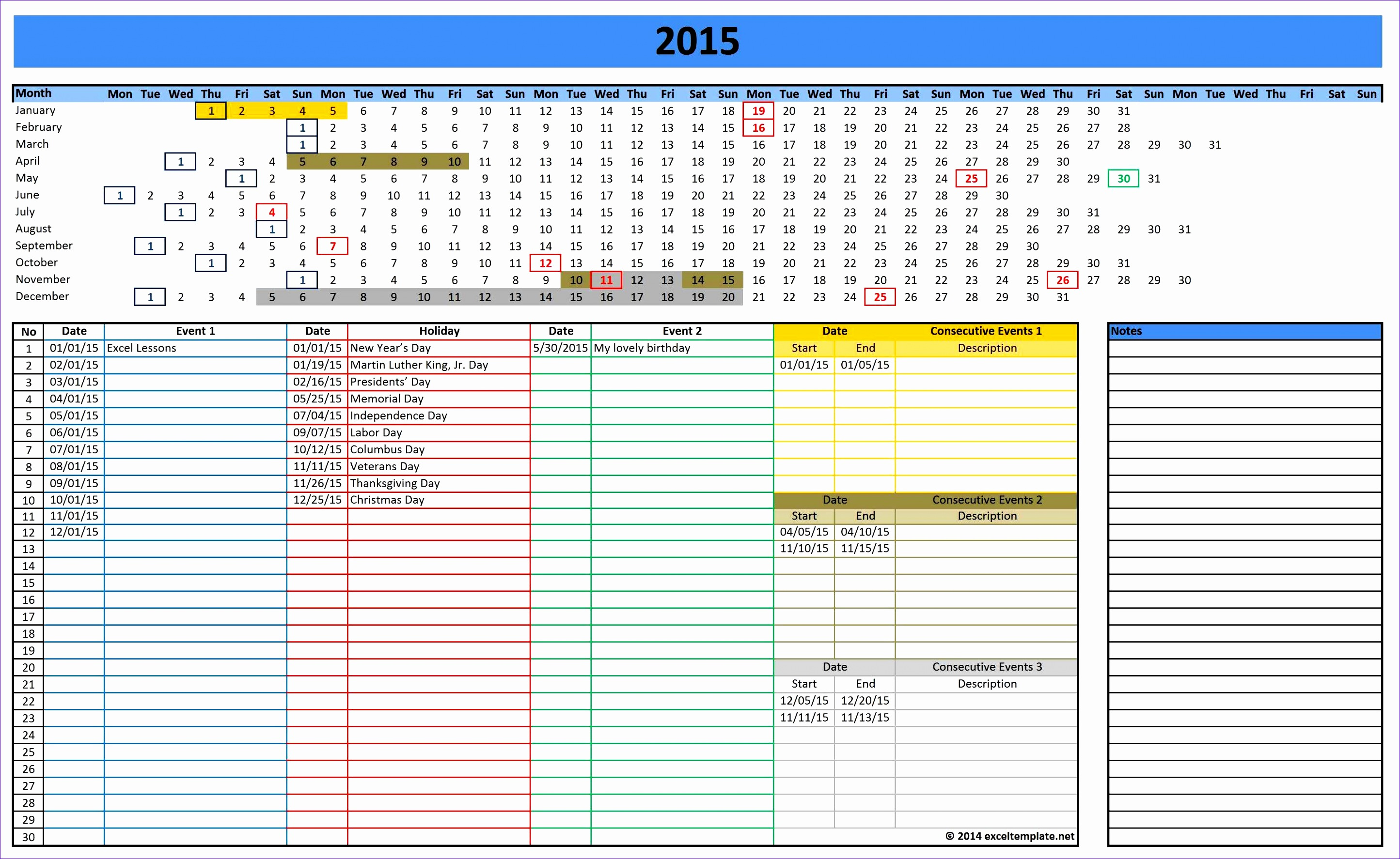 7 Monthly Calendar Excel Template