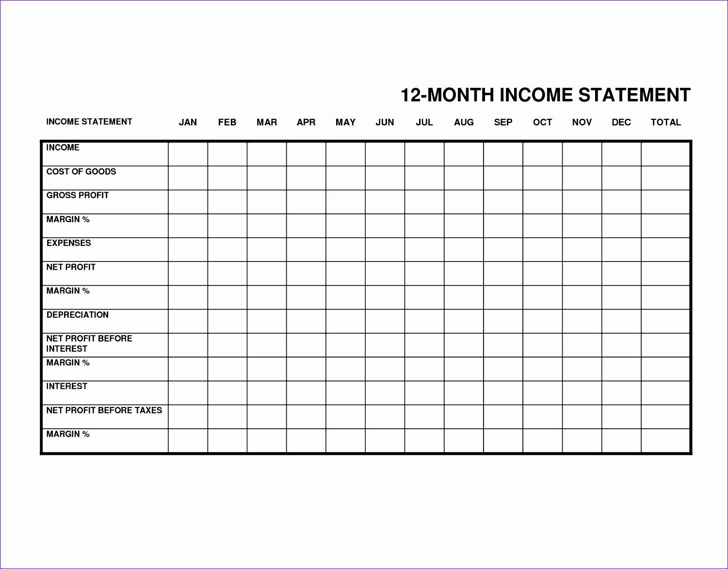 6 Monthly Income Statement Template Excel