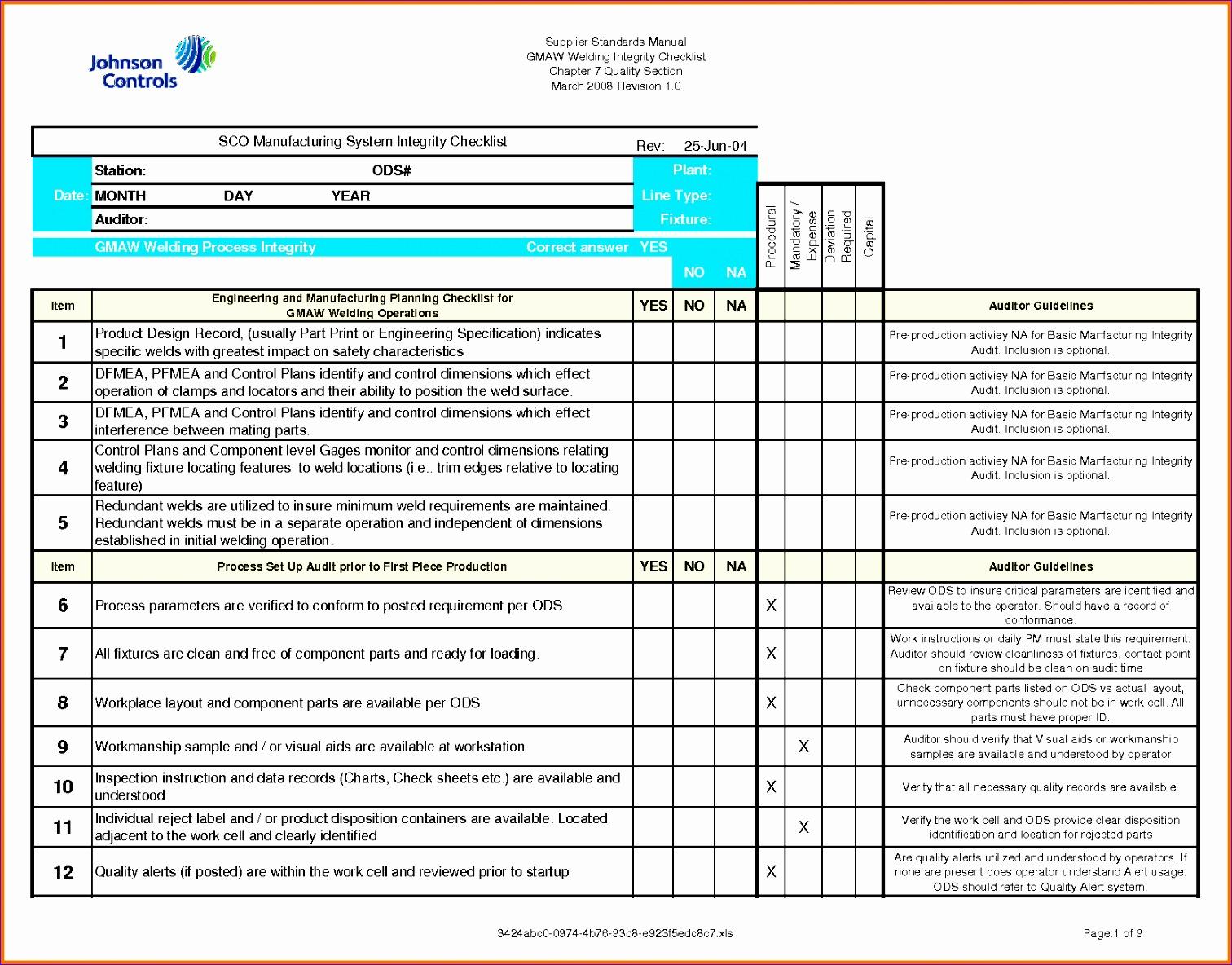 E M Audit Worksheet Template