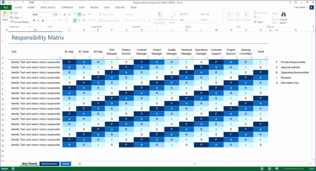 Roles And Responsibilities Template Excel