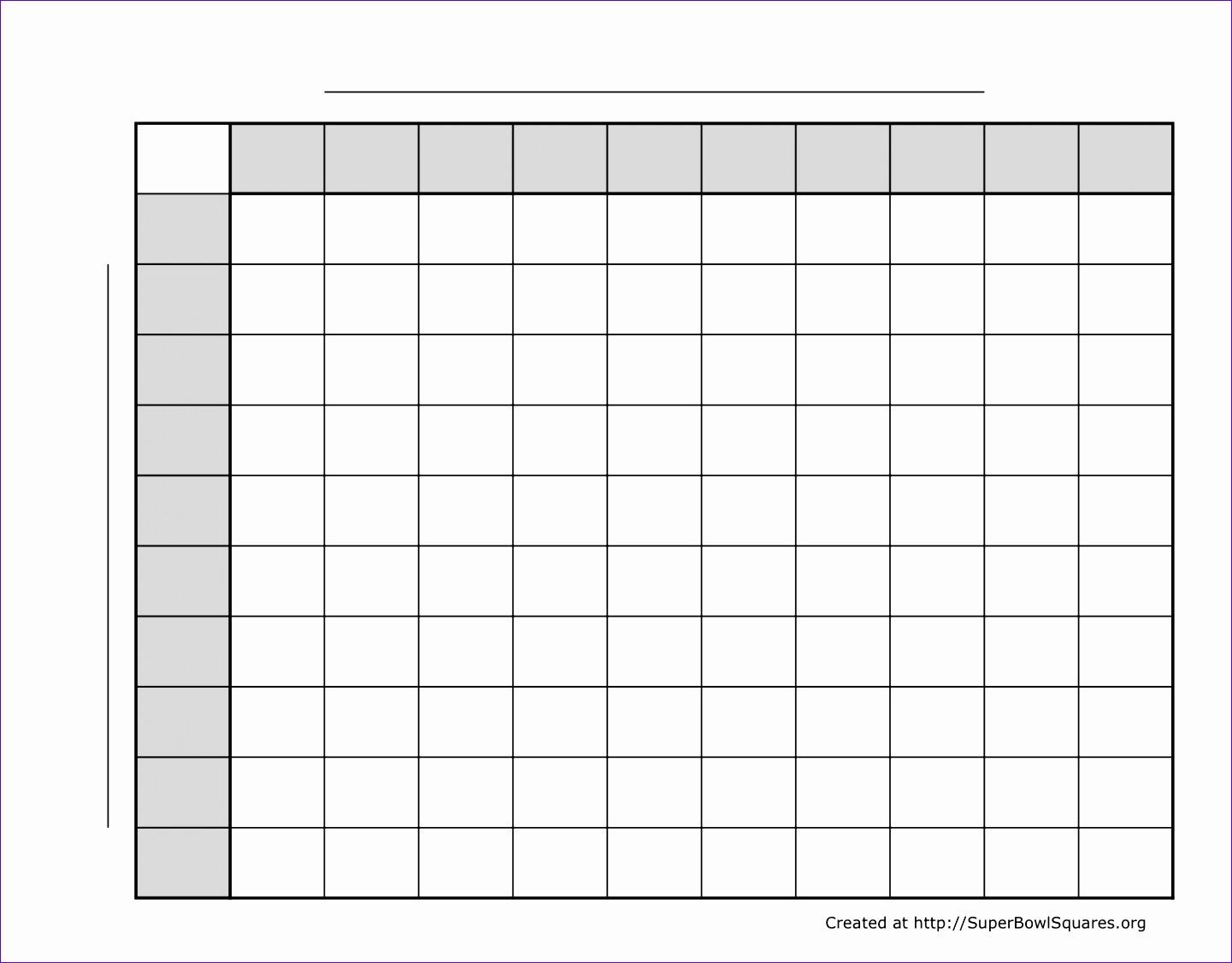 5 Super Bowl Squares Excel Template