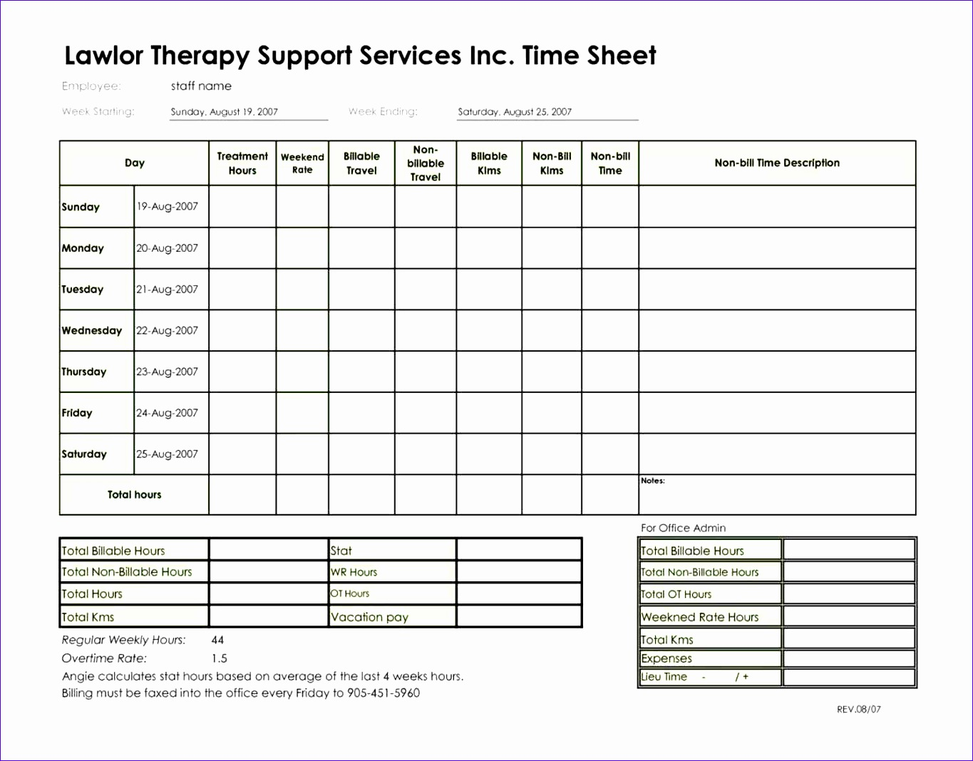 Timesheet Invoice Template Word Archives