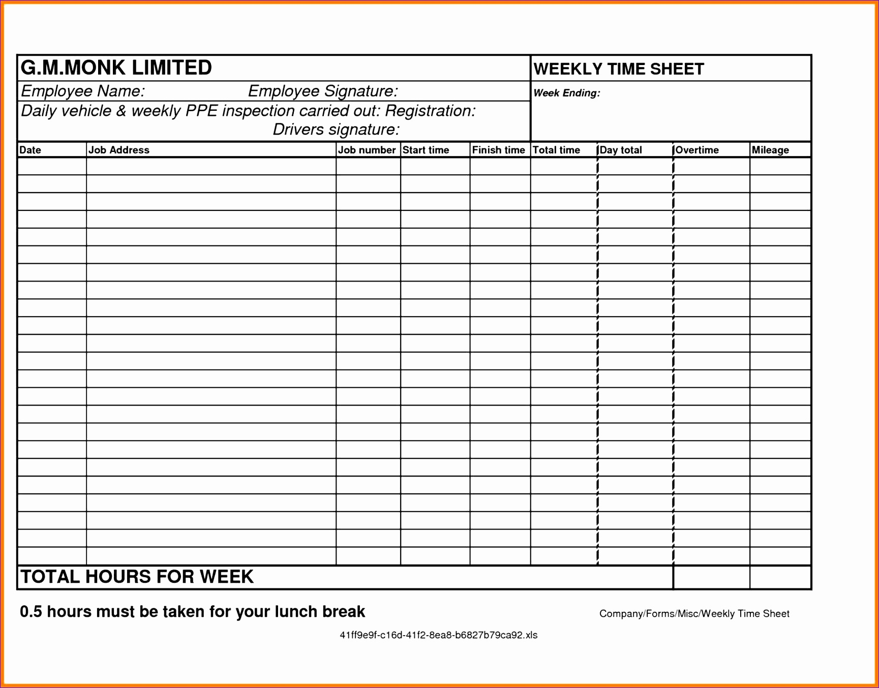 6 Weekly Time Sheets
