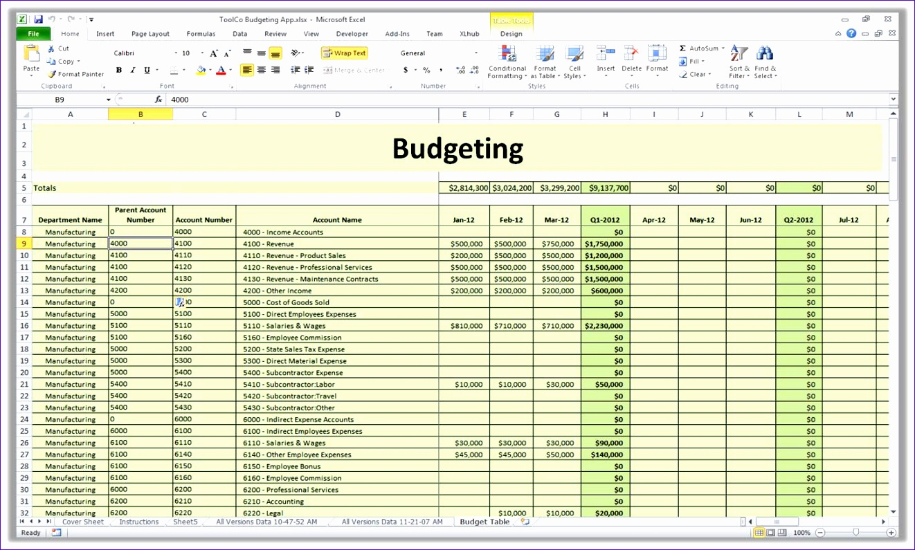 10 Budgeting Excel Template