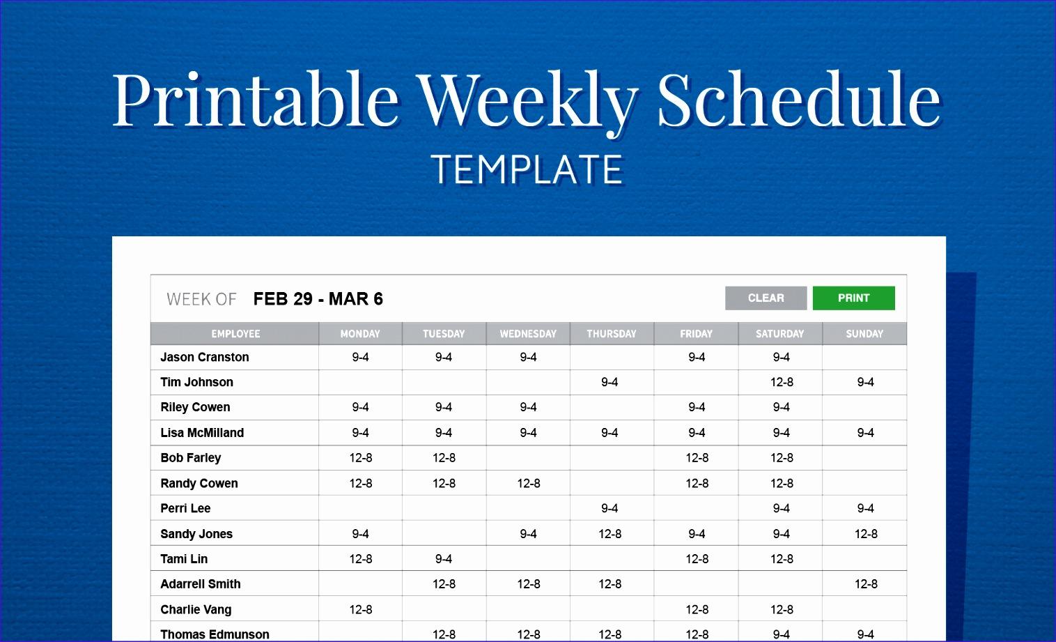 6 Employee Schedule Excel Template