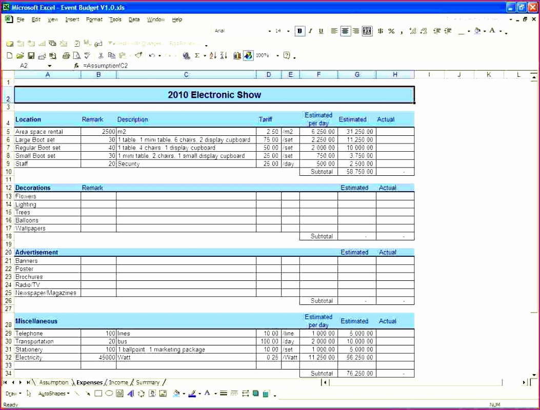 10 Event Budget Excel Template