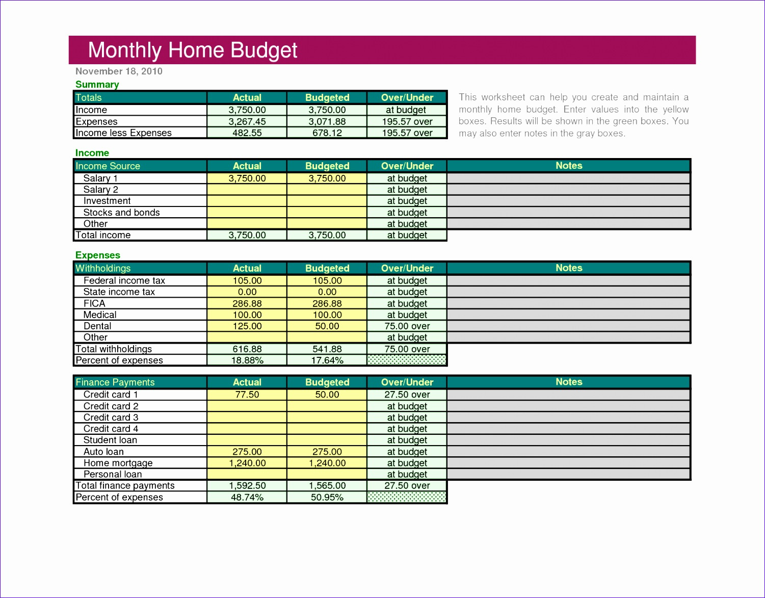 8 Excel Budget Template