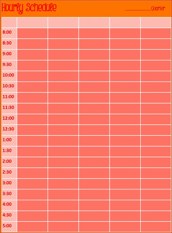 12 Hourly Calendar Template Excel
