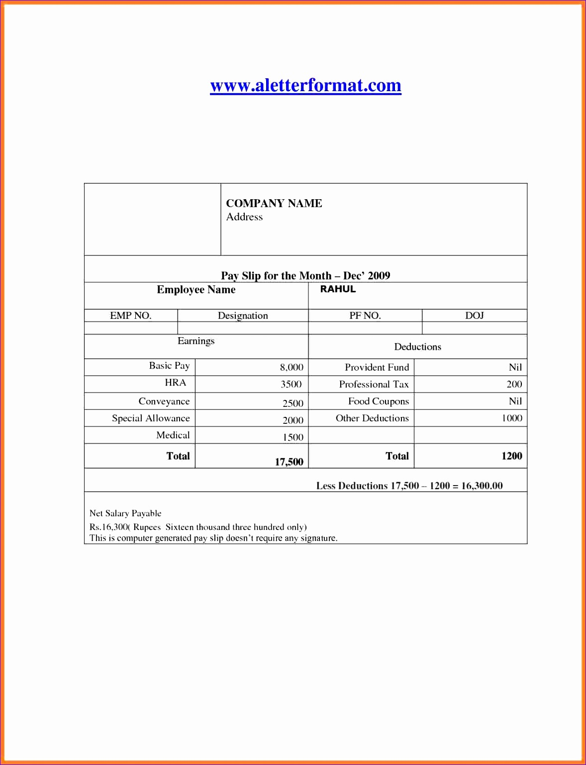 10 Payslip Excel Template