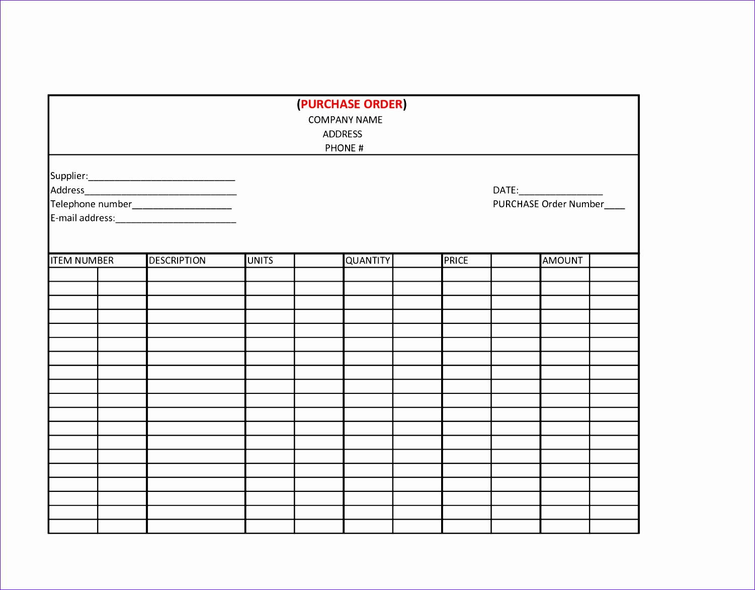 14 Purchase Order Excel Template
