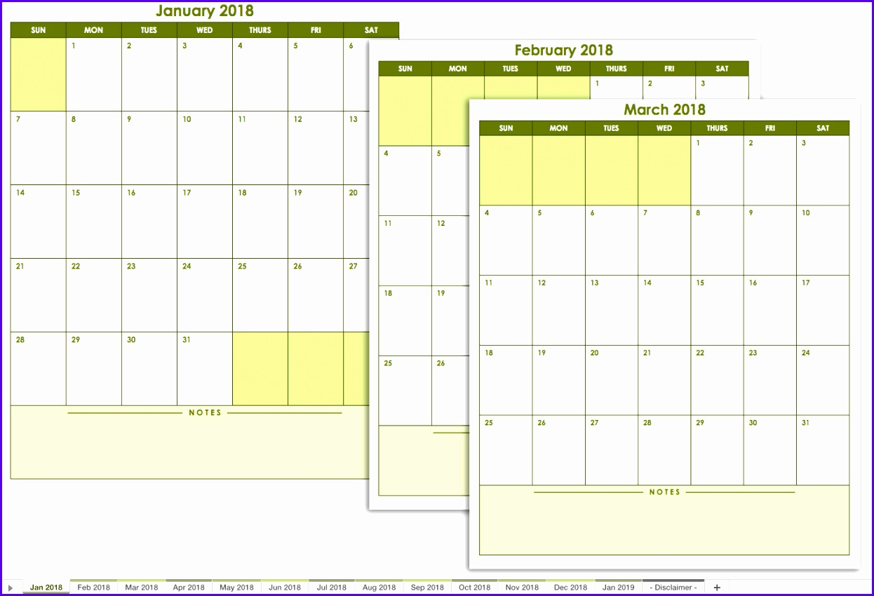 9 Excel Calendar Template