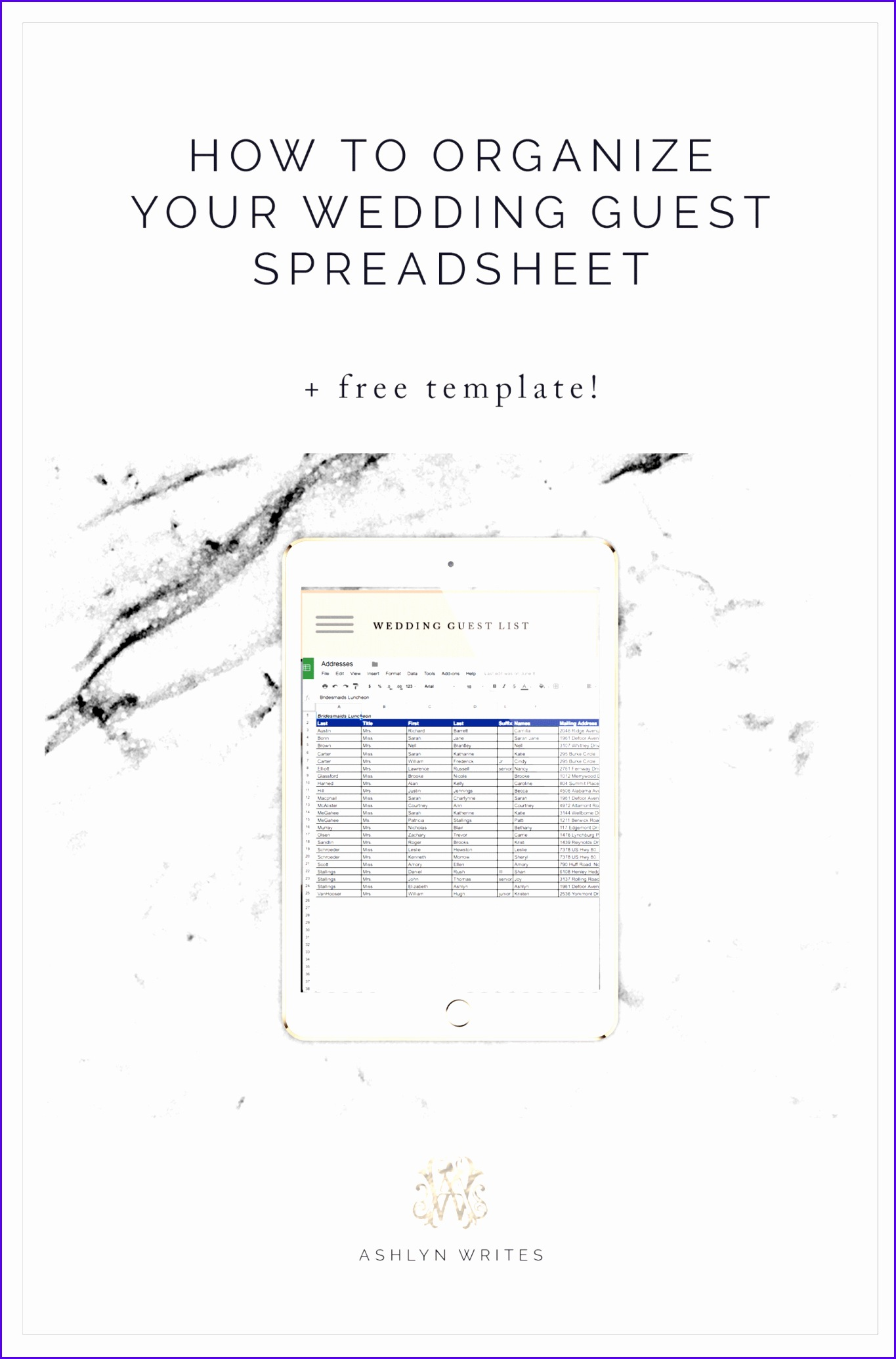 7 Excel Guest List Template