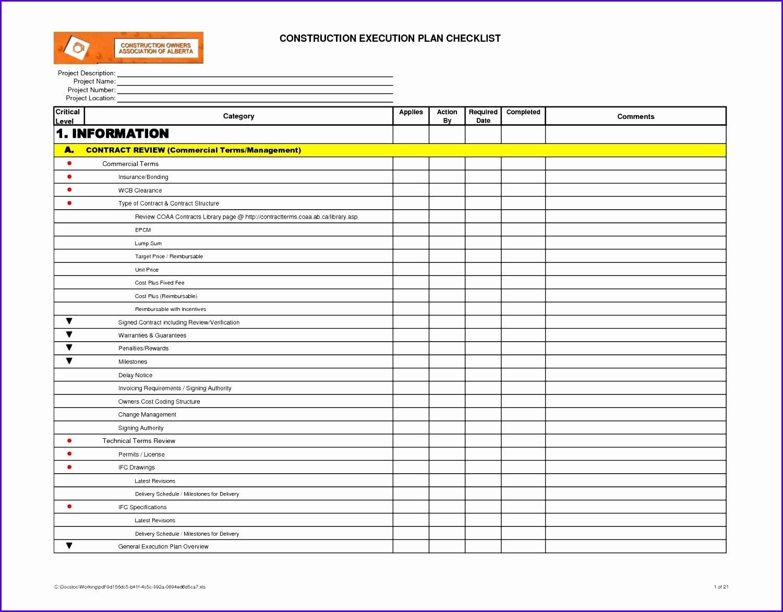 8 Excel Template Checklist