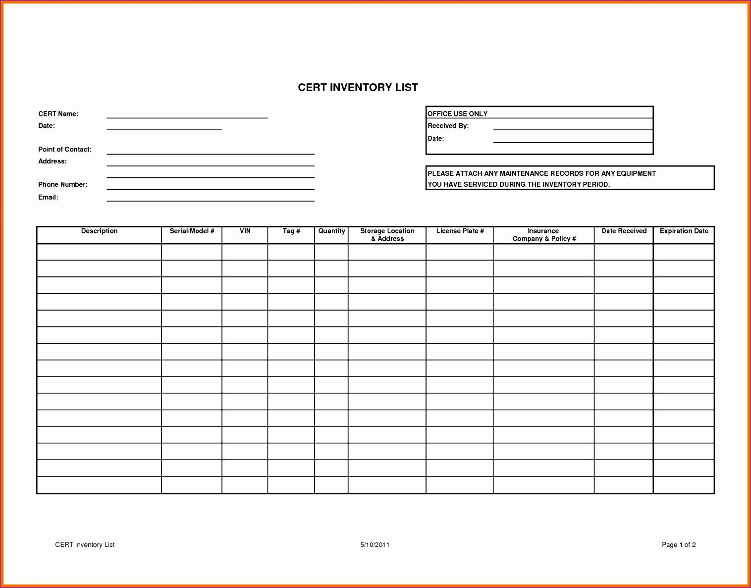 Equipment Tracking Worksheet