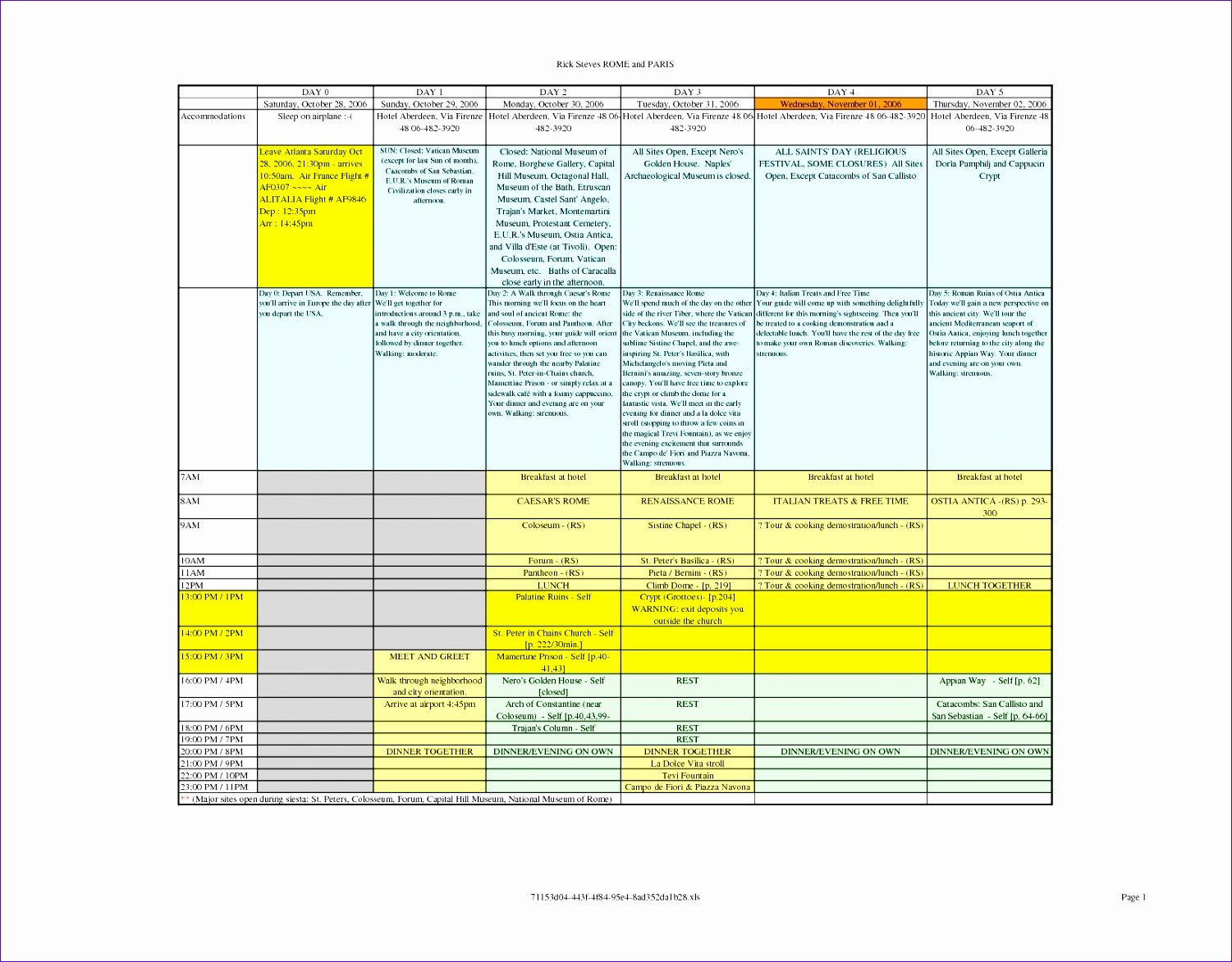 9 Vacation Itinerary Template Excel