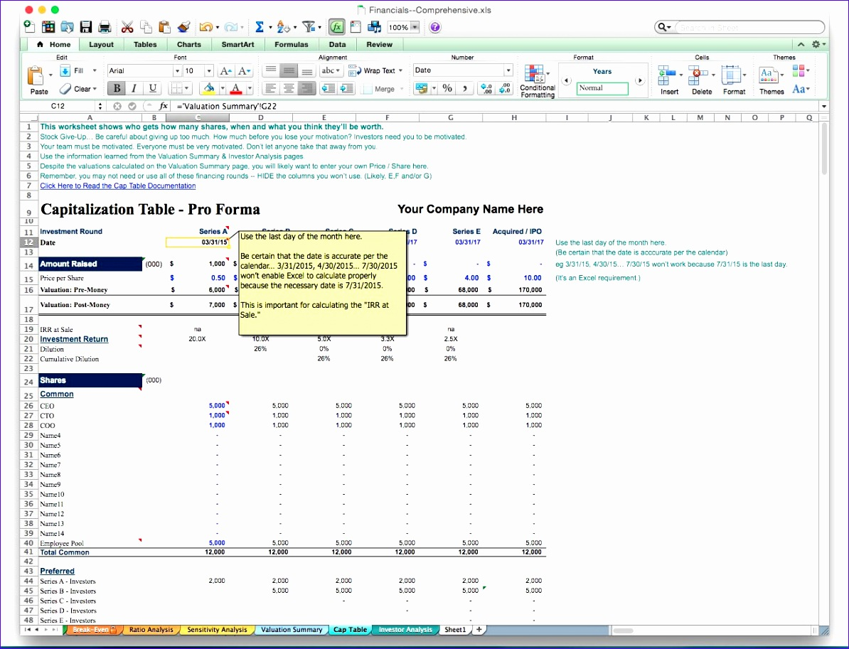 6 Valuation Excel Template