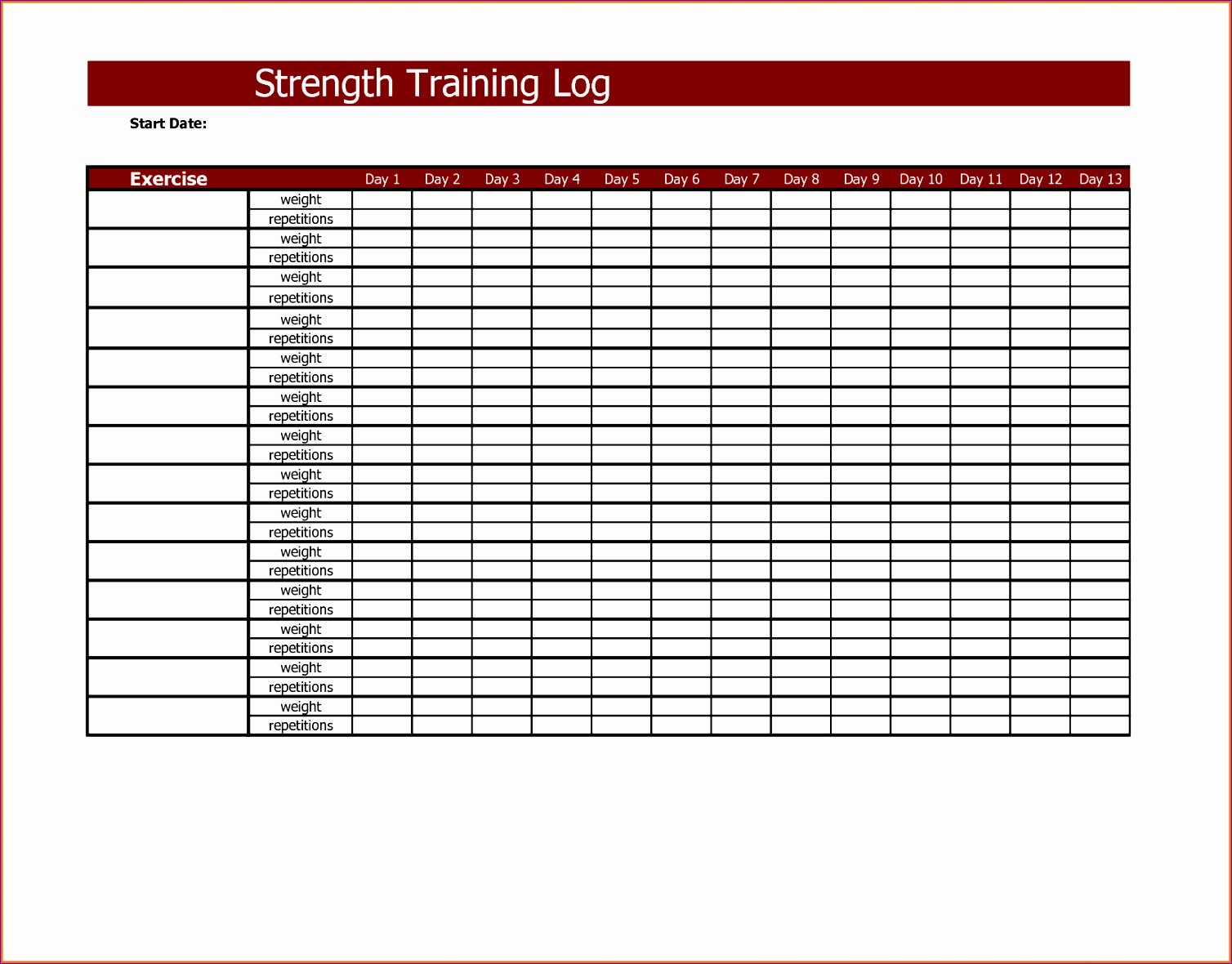 6 Workout Log Template Excel