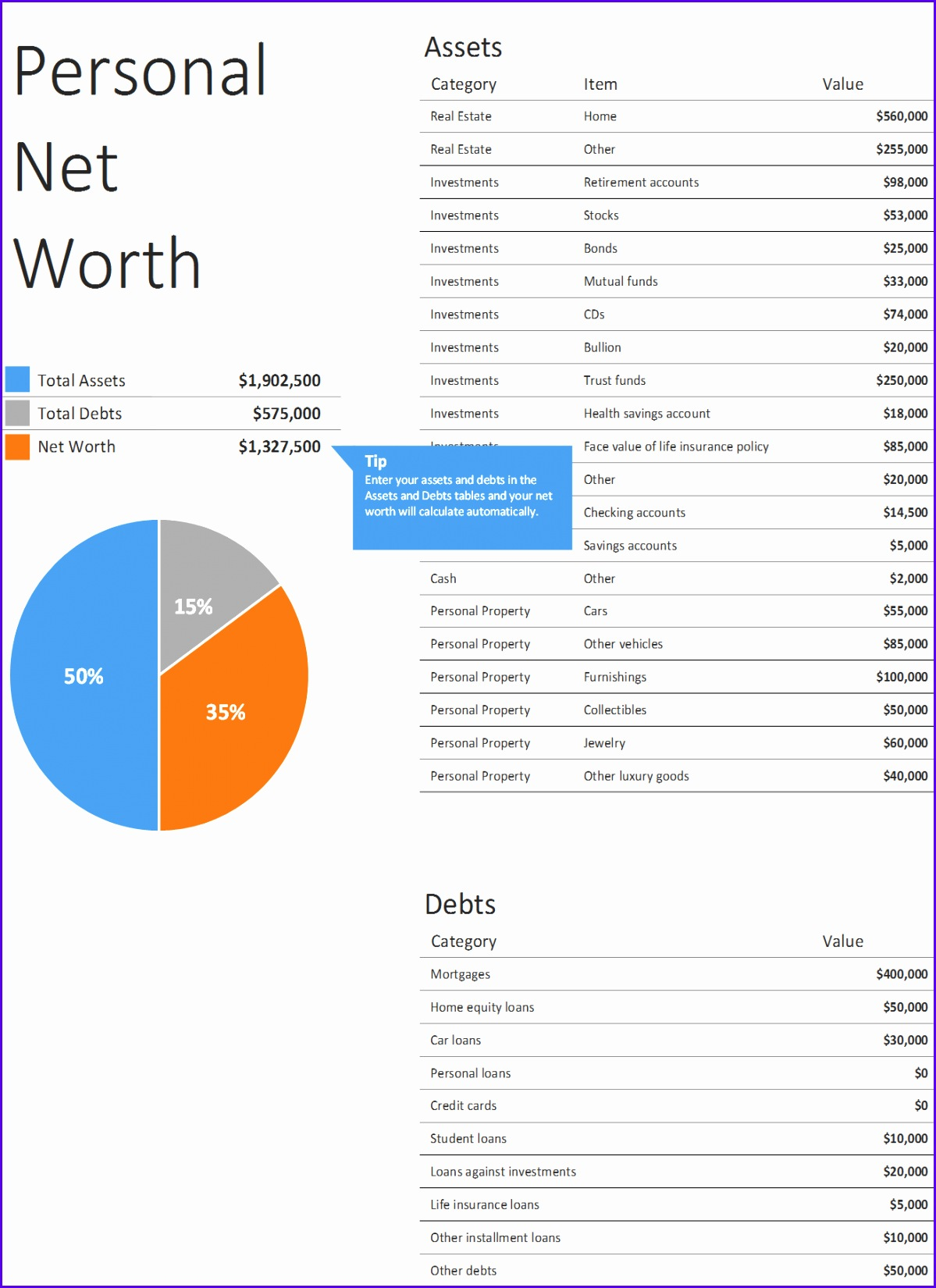 7 Net Worth Excel Template