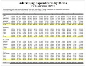 Advertising Plan Template - Excel Templates