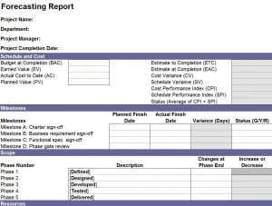 Forecasting Report Template
