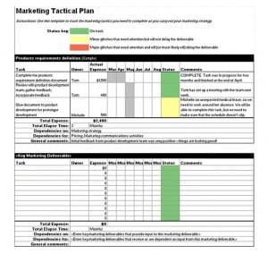 Tactical Marketing Plan Template