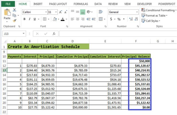 create amortization table excel