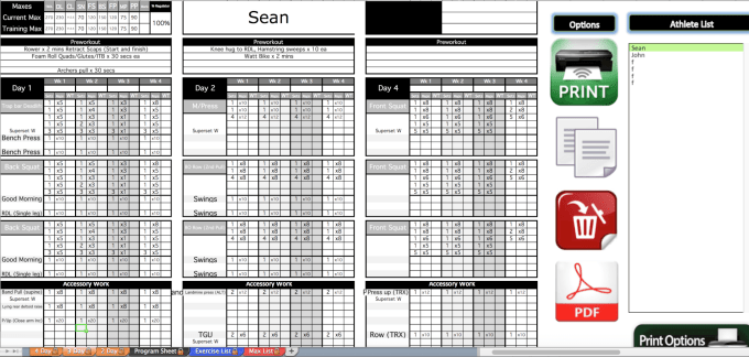 workout program template excel save template