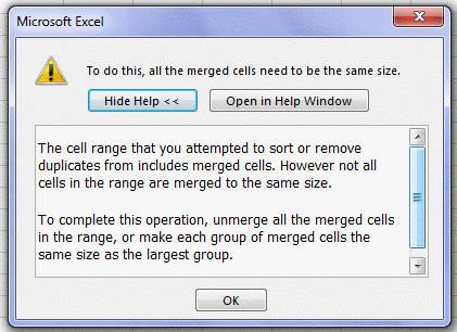 Excel Sorting Error due to Merged cells