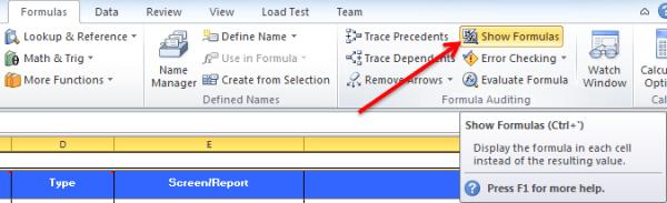 Show Formulas Option in Excel