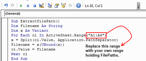 Macro to replace filename with corresponding paths