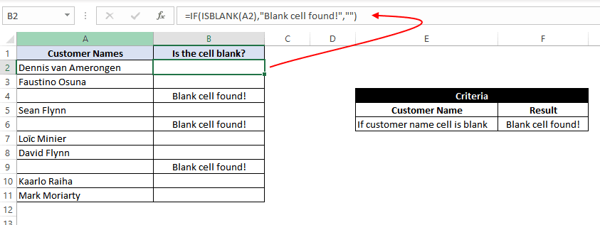 Find Blank Cells In Excel Using If Function