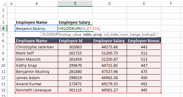 Vertical Lookup how to use table 03