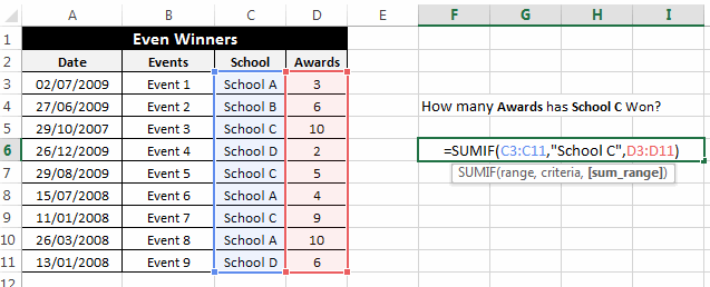 SumIf Example 8
