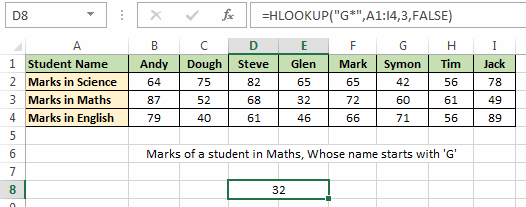 H_LOOKUP Example 2