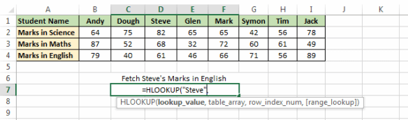 Lookup Value in H_LOOKUP