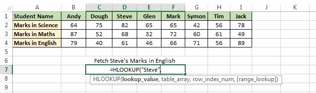 Lookup Value in H_LOOKUP