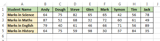 Student Table For H_Lookup in VBA