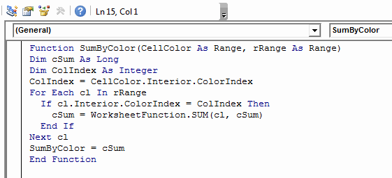 SUMBYCOLOR_UDF