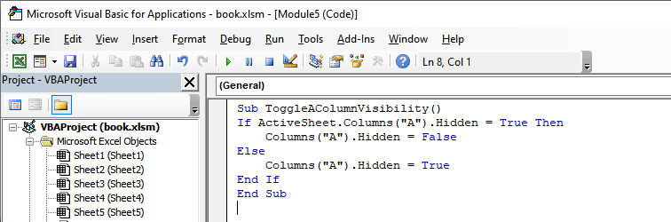 Adding macro to excel checkbox that hides column A