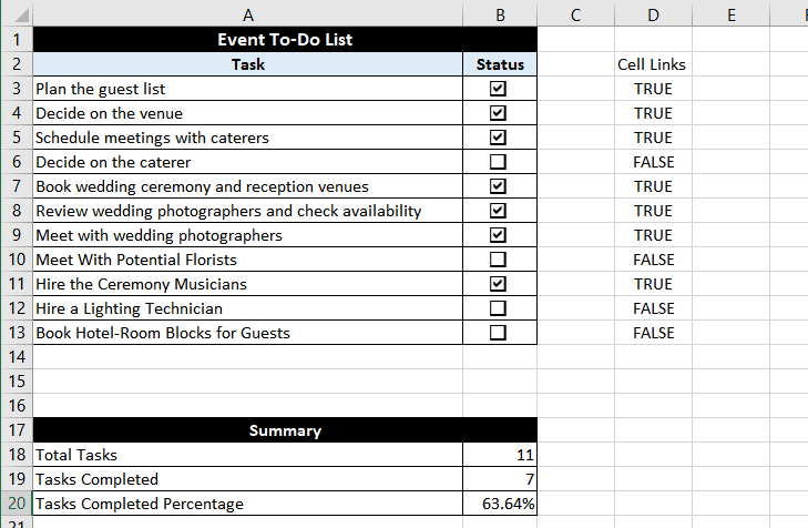 Creating a Todo List with checkbox in Excel