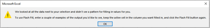 Excel-FlashFill-Error-Message
